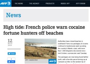 """法国""""毒品包裹""""案扑朔迷离:已有逾千公斤可卡因包裹被冲上海滩"""