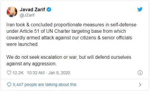 最新!伊朗外长:自卫行动已经结束,不寻求战争;特朗普回应了