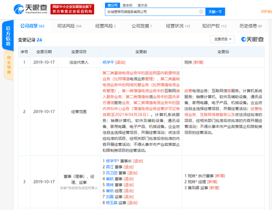 杨学平卸任长城宽带董事长 公司不再经营互联网接入业务