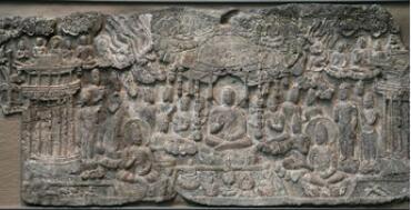 北齐石雕阿弥陀佛说法图