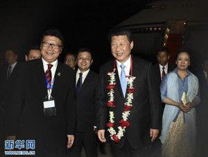 2015年4月21日,国家主席习近平抵达印度尼西亚首都雅加达