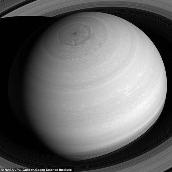卡西尼拍摄到的土星北极六边形