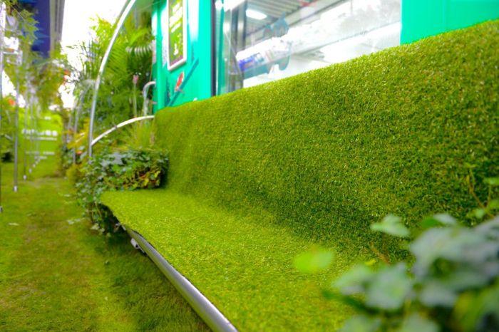 """杭州地铁一号线的某辆列车竟然把大自然""""搬进""""了车厢里。"""
